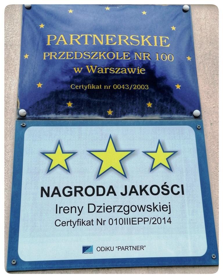 Partnerskie przedszkole Tablica pamiątkowa icertyfikat