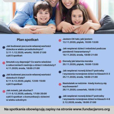 plakat informacyjny ochockiej akademii świadomego rodzica