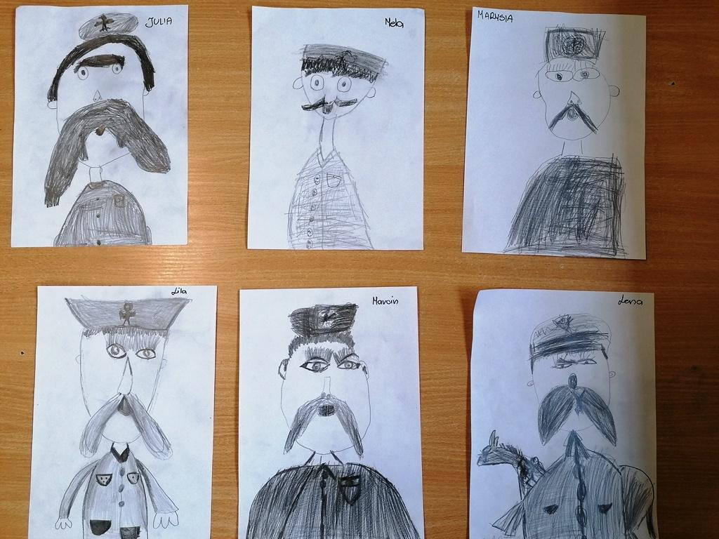 prace dzieci grafika Piłsudski